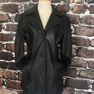 Marc New York leather women's jacket coat black S